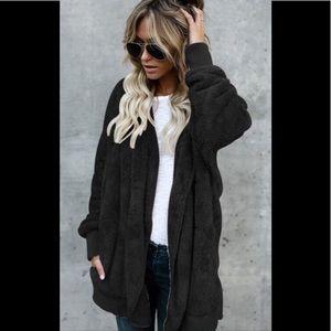 💕NEW💕 Sherpa Black Open Hooded Sweater